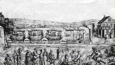 early train woodcut